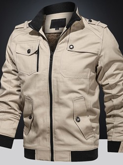 Stand Collar Color Block Thick Slim Winter Jacket