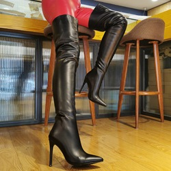Shoespie Sexy Back Zip Pointed Toe Plain Stiletto Boots
