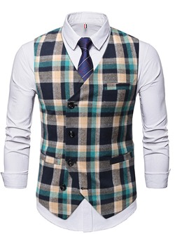 V-Neck Button Color Block Spring Single-Breasted Waistcoat