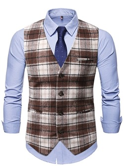 V-Neck Button Color Block Fall Single-Breasted Waistcoat