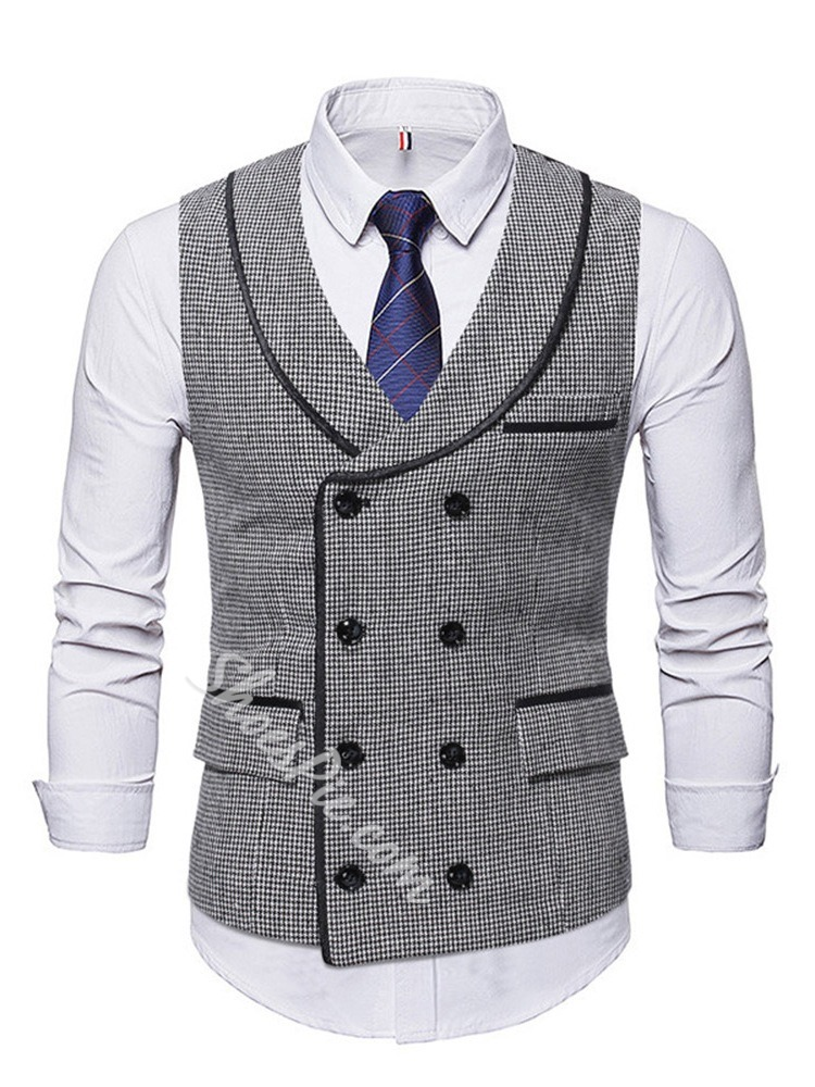 Color Block Print Double-Breasted Winter Waistcoat