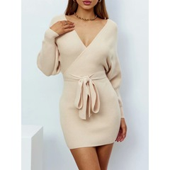 V-Neck Long Sleeve Lace-Up Pullover Women's Dress
