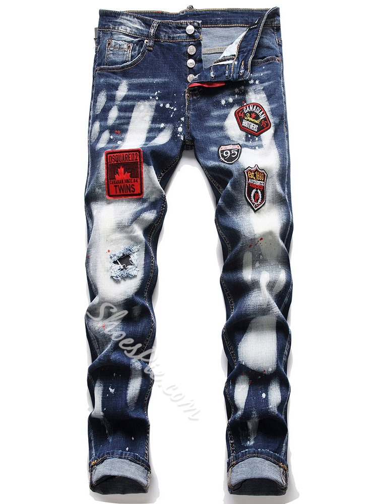 Color Block Embroidery Fashion Button Jeans