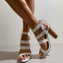 Shoespie Stylish Chunky Heel Lace-Up Open Toe Hollow Sandals