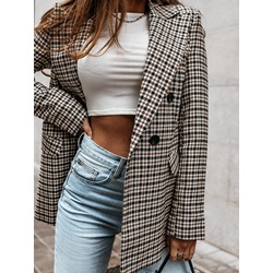 Color Block Notched Lapel Double-Breasted Regular Women's Casual Blazer