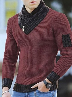 Color Block Standard Patchwork Fashion Winter Sweater