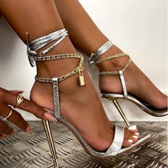Shoespie Trendy Pointed Toe Stiletto Heel Lace-Up Professional Sandals