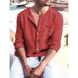 Simple Round Neck Plain Loose Single-Breasted Shirt