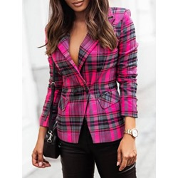 Double-Breasted Color Block Notched Lapel Spring Women's Casual Blazer