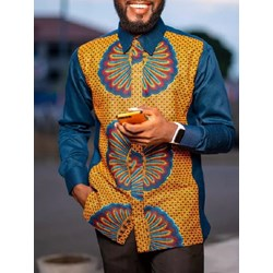 African Ethnic Style Floral Button Slim Single-Breasted Shirt