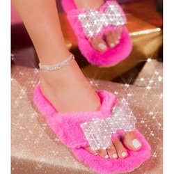 Shoespie Trendy Bow Flat With Flip Flop Western Slippers
