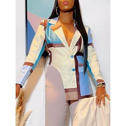 Single-Breasted Notched Lapel Color Block Spring Women's Casual Blazer