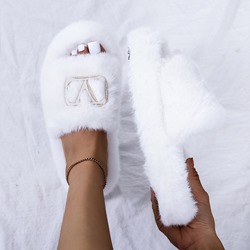 Shoespie Faux Fur Stylish Sequin Flip Flop Flat With Spring Slippers