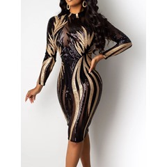 See-Through Nine Points Sleeve Stand Collar Bodycon Women's Dress