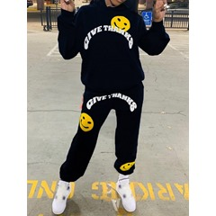 Letter Fashion Ankle Length Pants Hooded Women's Two Piece Sets