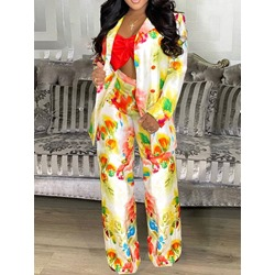 Flower Pants Floral Button Double-Breasted Women's Two Piece Sets