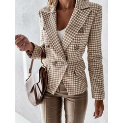 Plaid Double-Breasted Notched Lapel Regular Women's Casual Blazer