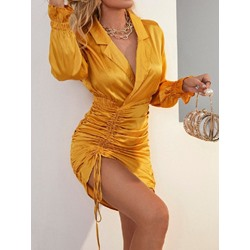 Above Knee Pleated Long Sleeve Pullover Women's Dress