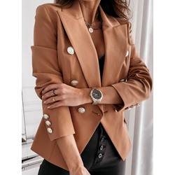 Notched Lapel Double-Breasted Plain Regular Women's Casual Blazer