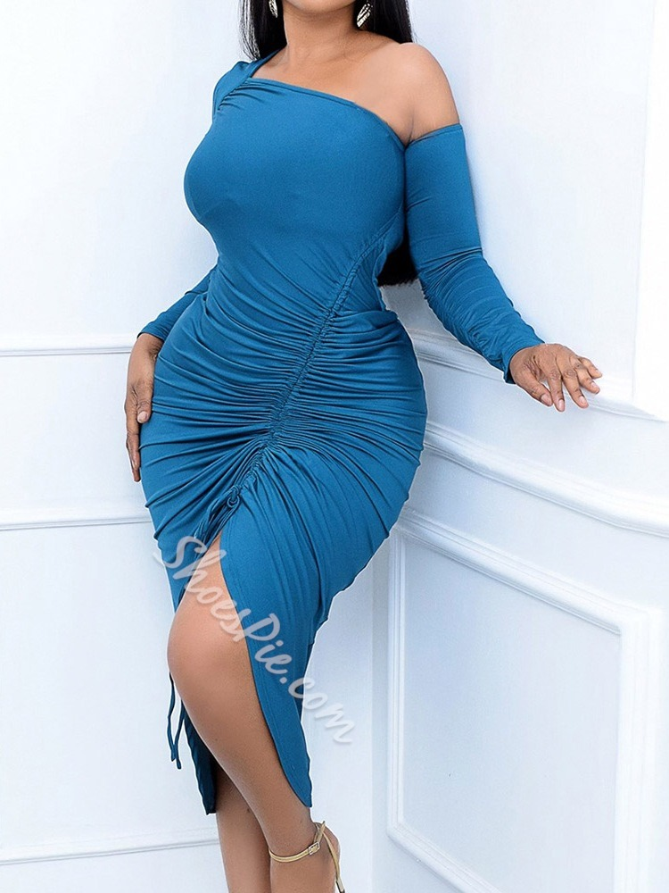 Blue Long Sleeve Lace-Up Mid-Calf Bodycon Women's Dress