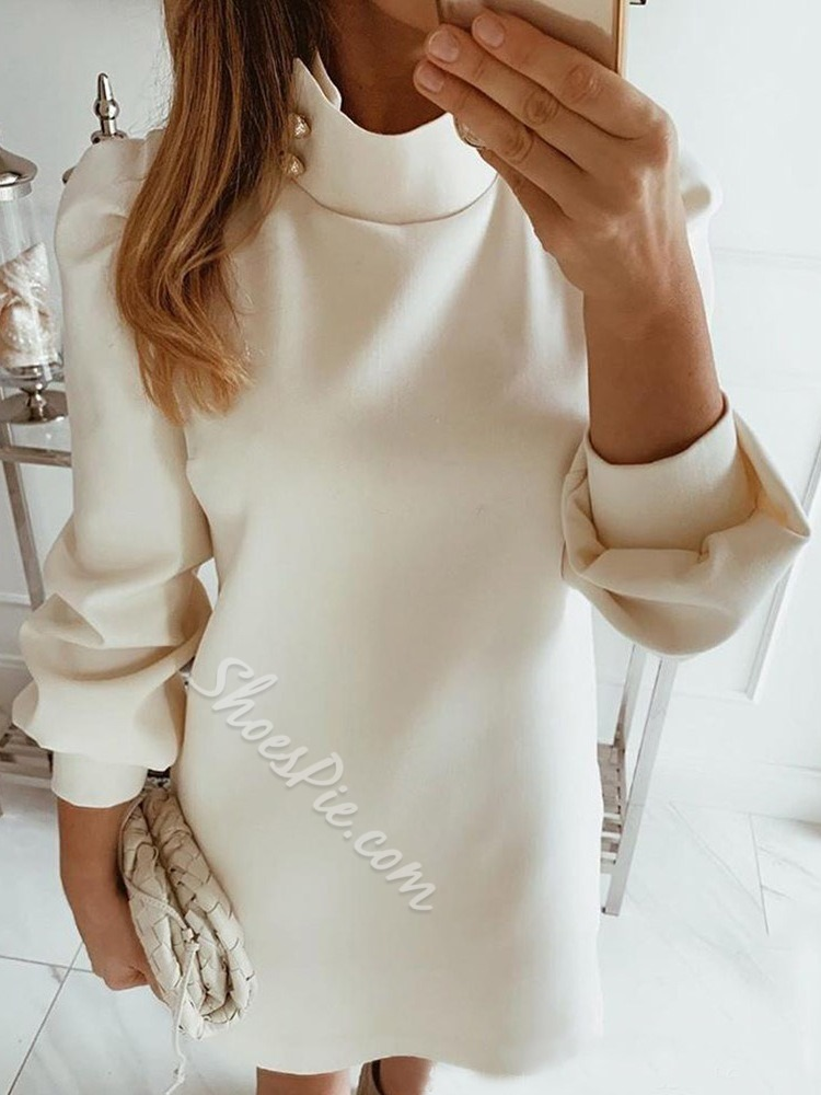 Nine Points Sleeve Above Knee Stand Collar Fashion Women's Dress