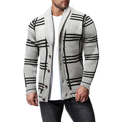 Button Plaid Standard Single-Breasted European Sweater
