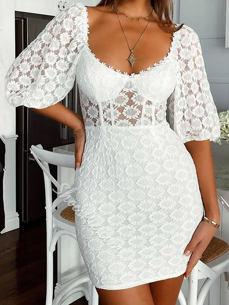 Lace Scoop Above Knee See-Through Summer Women's Dress