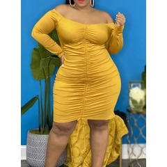 Plus Size Above Knee Lace-Up Long Sleeve Pullover Women's Dress