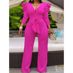 Lace-Up Full Length Fashion Straight Women's Jumpsuit