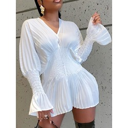 V-Neck Pleated Above Knee Pleated Women's Dress