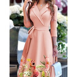 Notched Lapel Lace-Up Three-Quarter Sleeve Pullover Women's Dress