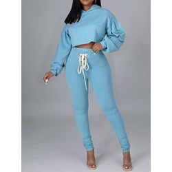Sweet Hoodie Plain Pullover Women's Two Piece Sets