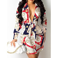 Above Knee Long Sleeve Lace-Up Spring Women's Dress