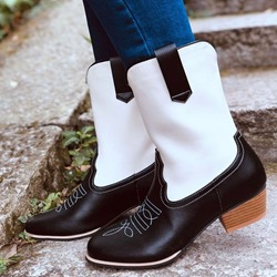 Shoespie Vintage Sexy Chunky Heel Slip-On Color Block Professional Boots