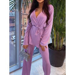 Plain Sweet Sweater Lace-Up Women's Two Piece Sets