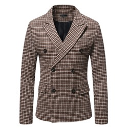 Double-Breasted Slim Houndstooth Blazer
