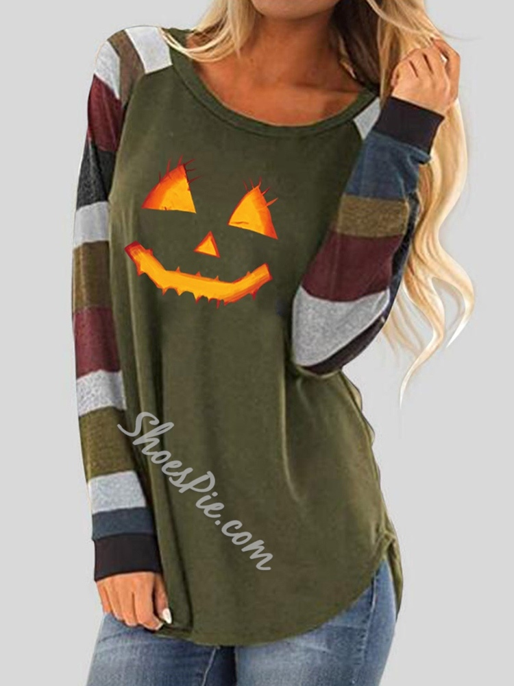 Halloween Mid-Length Round Neck Color Block Casual Women's T-Shirt