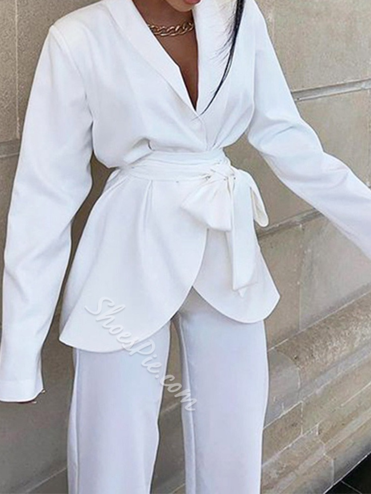 White Formal Pants Lace-Up Long Sleeve Women's Suit