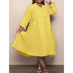 Plus Size Long Sleeve Mid-Calf Pullover Women's Dress