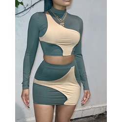 Color Block T-Shirt Sweet Bodycon Women's Two Piece Sets