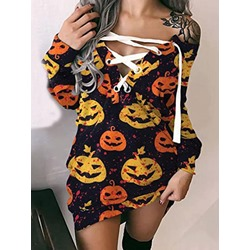 Halloween Above Knee Lace-Up Long Sleeve Pullover Women's Dress