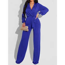 Lace-Up Formal Full Length Straight Women's Jumpsuit