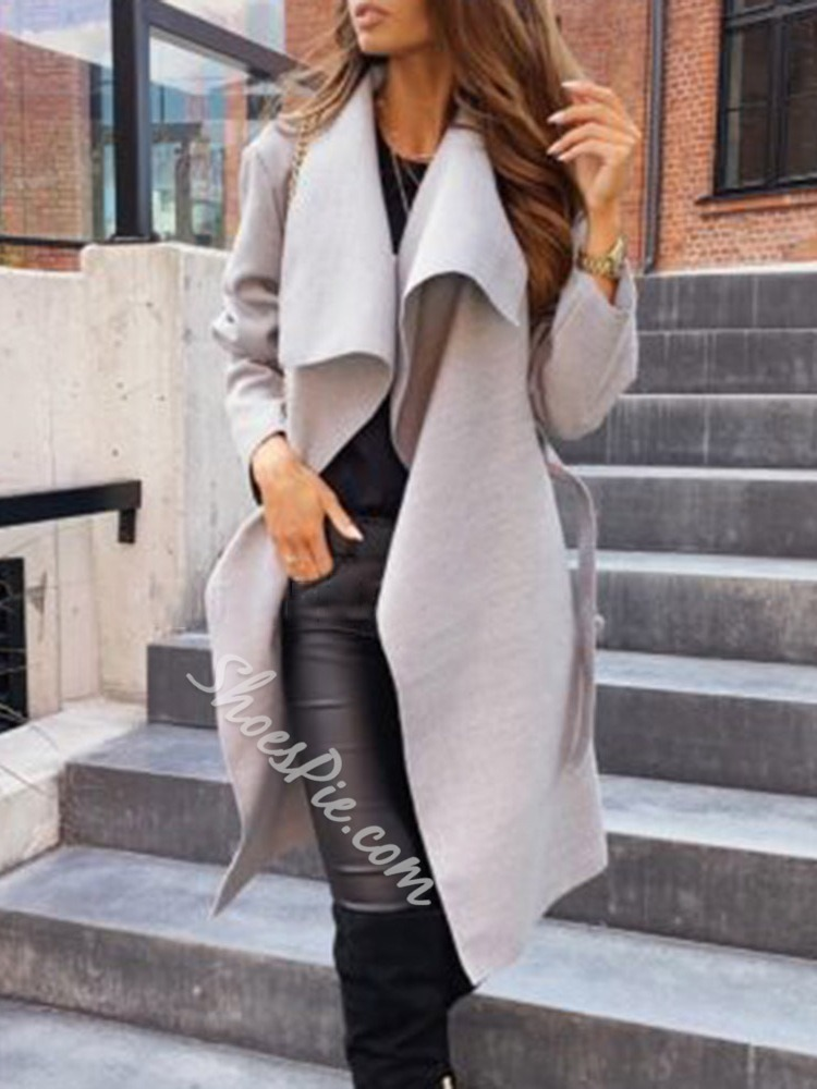 Lace-Up Lace-Up Lapel Simple Women's Trench Coat