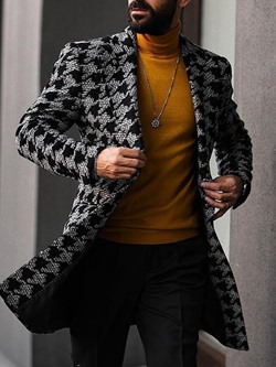Print Notched Lapel Color Block Double-Breasted Fall Coat