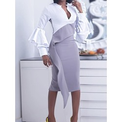 Stand Collar Patchwork Long Sleeve Fashion Women's Bodycon Dress