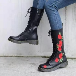 Shoespie Stylish Round Toe Side Zipper Floral Embroidery Boots