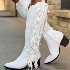Shoespie Tassel Sexy Chunky Heel Plain Pointed Toe Short Floss Boots