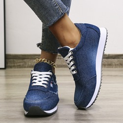 Shoespie Stylish Lace-Up Lace-Up Round Toe Canvas Sneakers