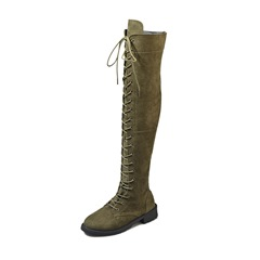 Shoespie Trendy Lace-Up Front Chunky Heel Plain Thread Knee High Boots