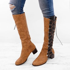 Shoespie Sexy Round Toe Color Block Side Zipper Professional Knee Boots